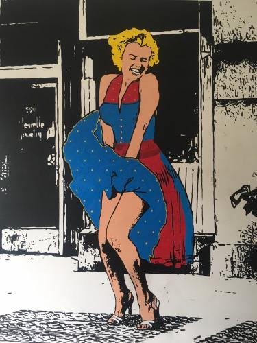 """Andrew Stix pays tribute to Steve Alan Kaufman and his fabolous painting """"the seven year itch"""" with his interpretation """"marilyn goes Dirndl"""""""